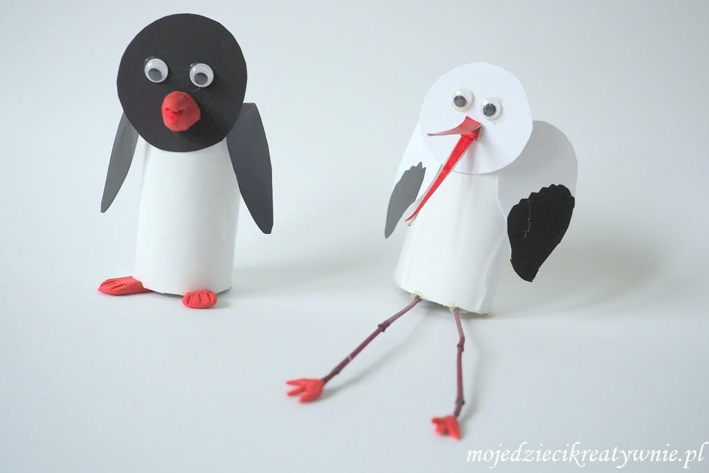 ptaki z rolek po papierze