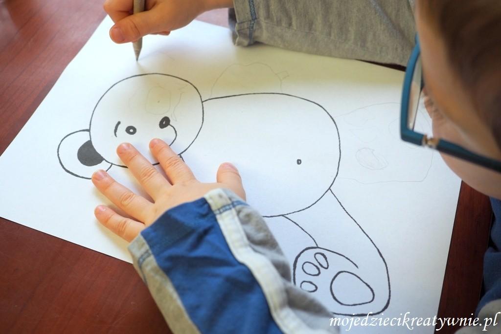 szablon misia zabawy dla dzieci w domu kreatywnie edukacja przedszkolu dwulatka trzylatka