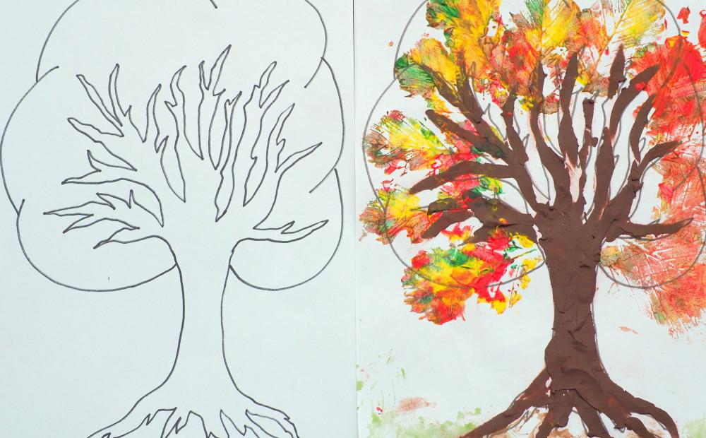 szablon drzewa prace plastyczne jesien
