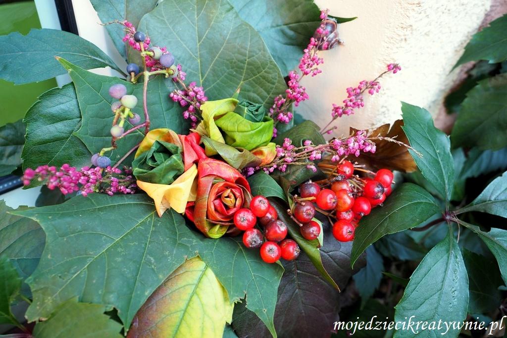 jesienne dekoracje, prace plastyczne jesien, buket z lisci, pomysly na wykorzystanie lisci