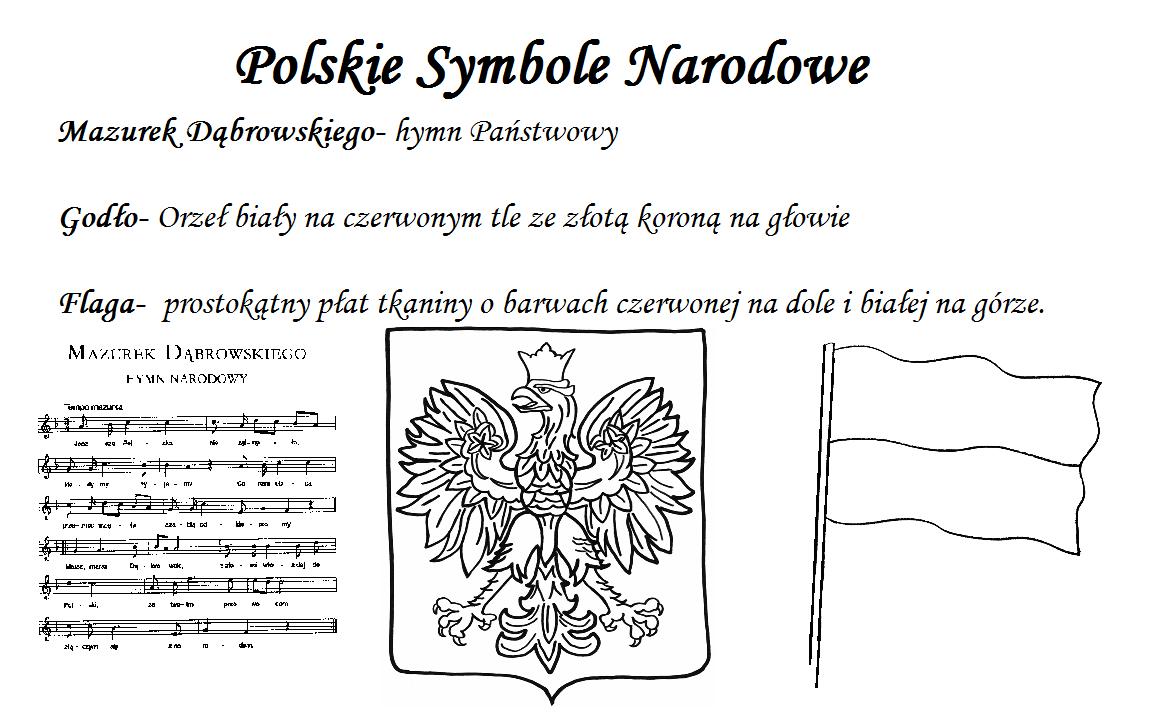 Symbole narodowe karty pracy godło flaga mazurek dabrowskiego