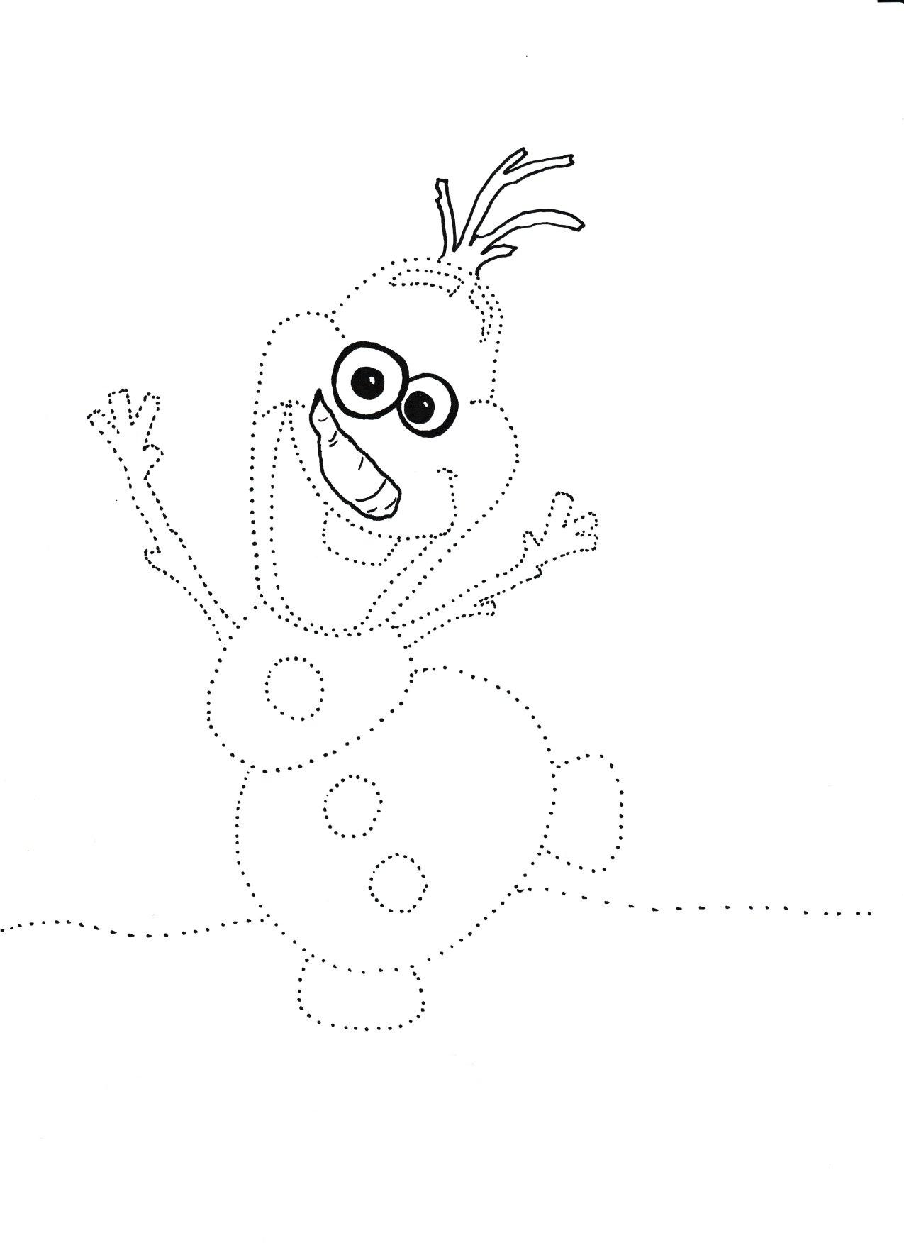 Zimowe karty pracy do wydruku, olaf szablon, olaf kolorowanka, grafomotoryka dla dzieci