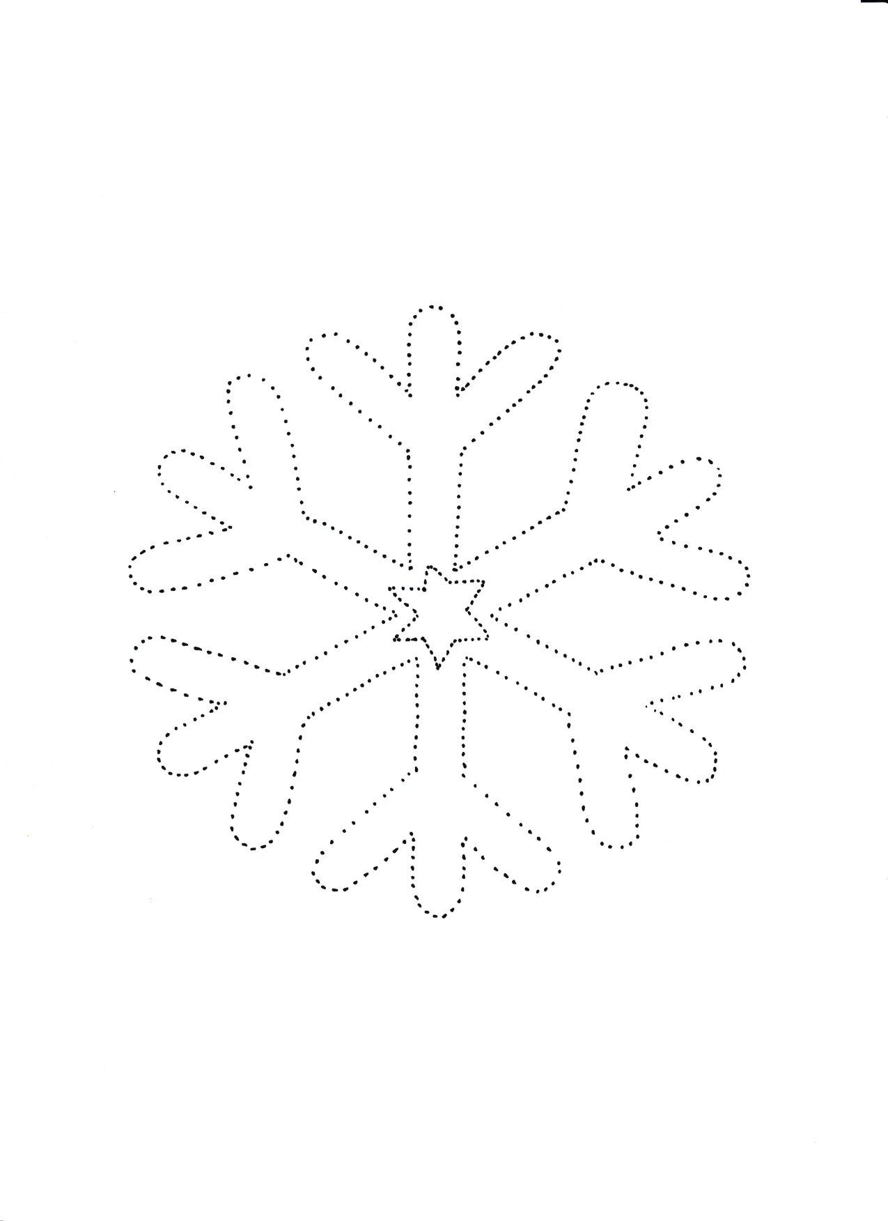 śnieżynka szablon, zimowe karty pracy