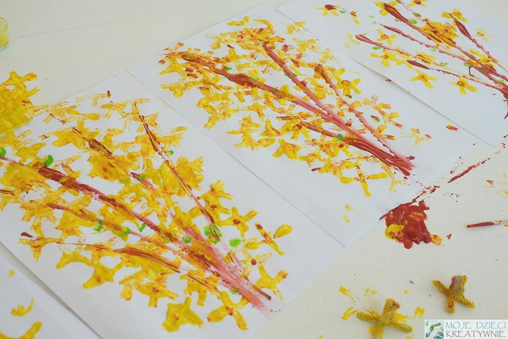 wiosenna praca plastyczna forsycja wiosna kwiaty prace zabawy przedszkole