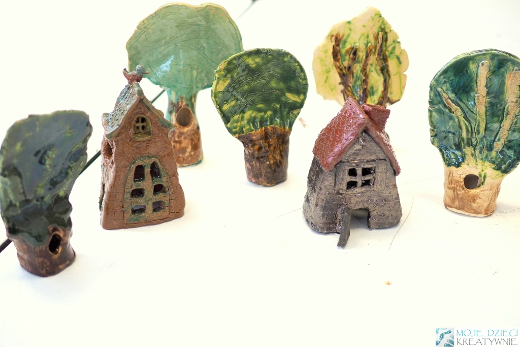 ceramika dla dzieci drzewa z gliny ceramiczne prace plastyczne moje dzieci kreatywnie domki