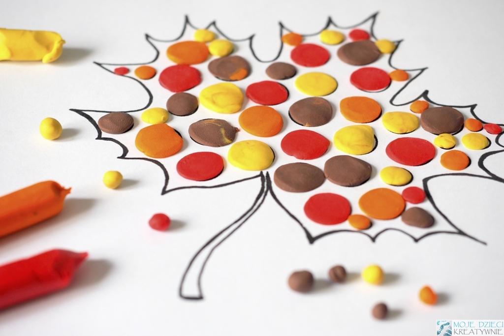 wyklejanie plastelina kreatywne prace plastyczne dzieci w domu przedszkolu
