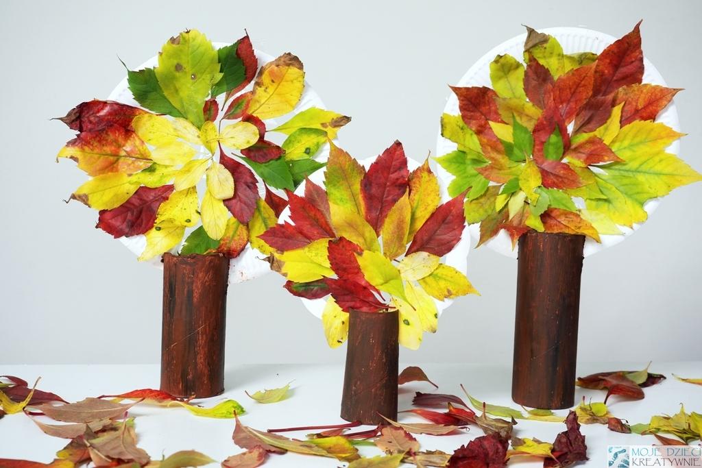 drzewka z liści, co mozna zrobic z liści, prace plastyczne jesień