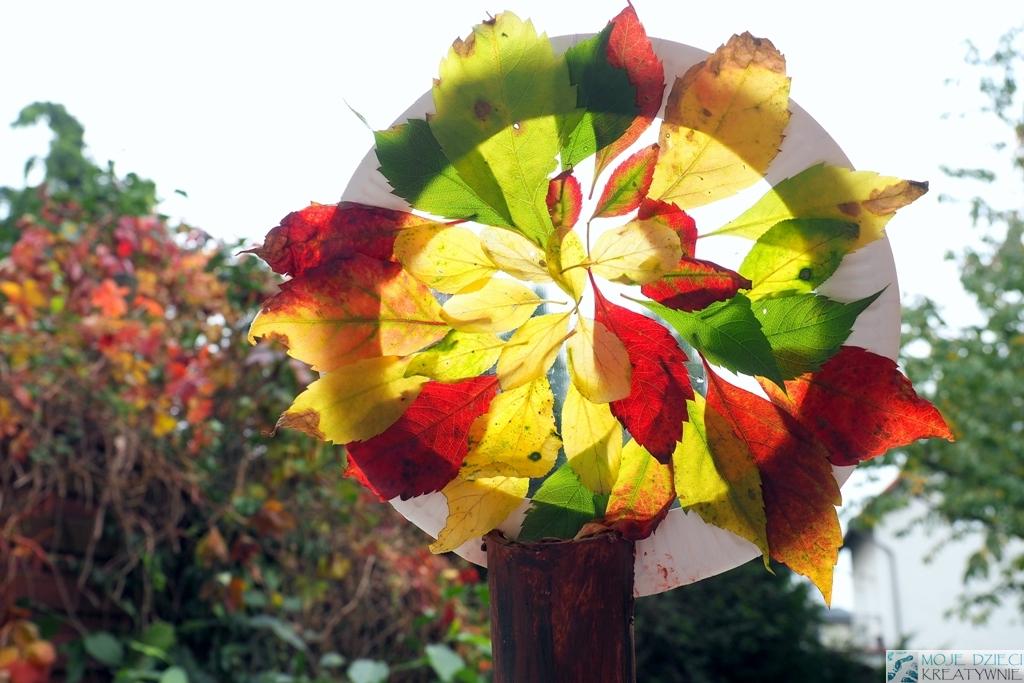 jesienny witraż, prace plastyczne z liści, prace plastyczne jesien