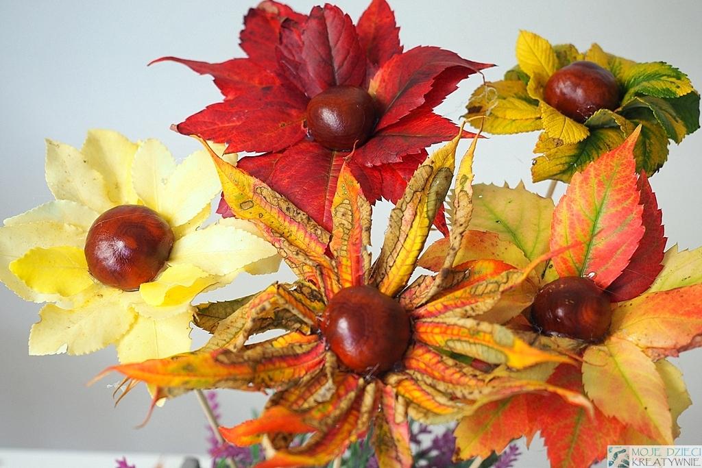 co mozna zrobic z kasztanow, ciekawe prace plastyczne jesien, kwiaty z lisci