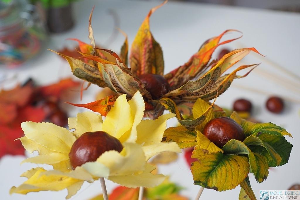 kwiaty z liści i kasztnaów, jesienne dekoracje, ciekawe prace plastyczne z kasztanów