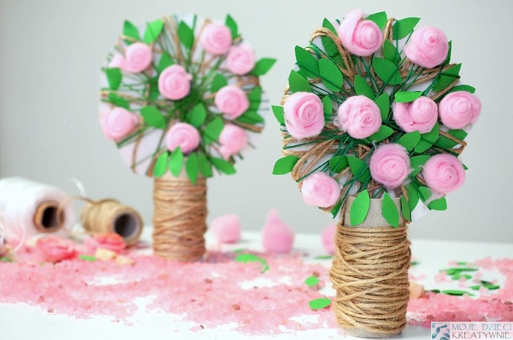 drzewo praca plastyczna pomysy na różane drzewko z rolek co mozna zrobic z rolek