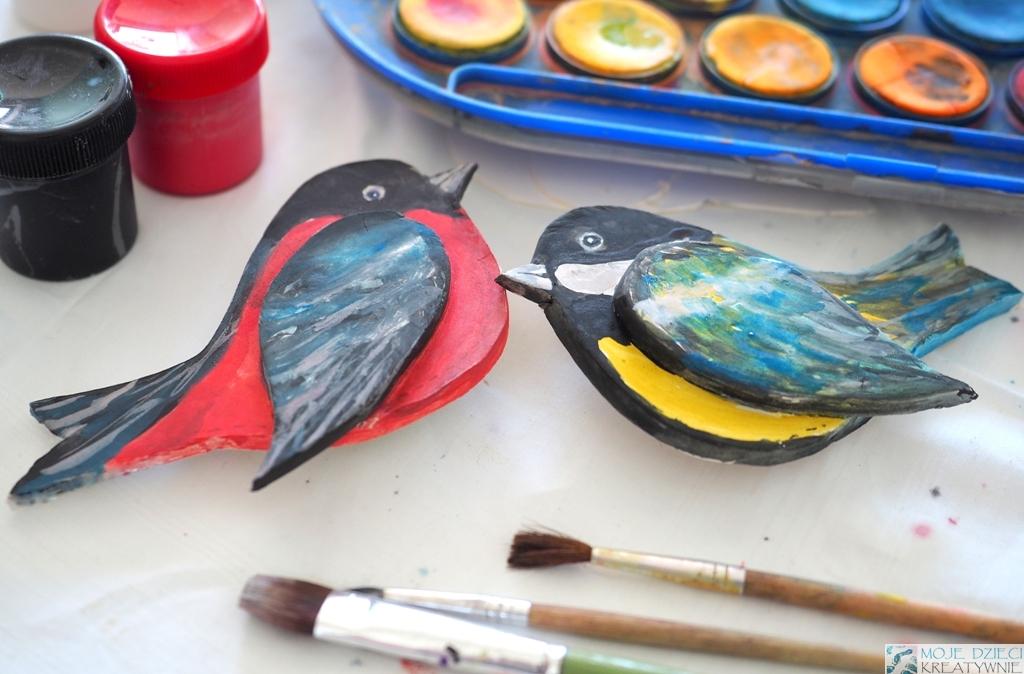 ptaki, Sikorka, gil prac plastyczna z gliny