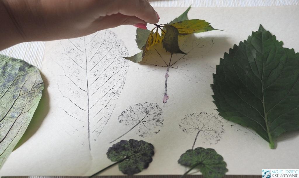 odbijanie liści, kalkografia, prace plastyczne pomysły