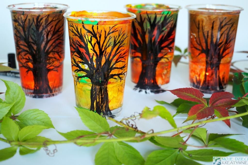 prace plastyczne jesień, diy, lampion z kubeczków, pomysły na jesienne prace plastyczne