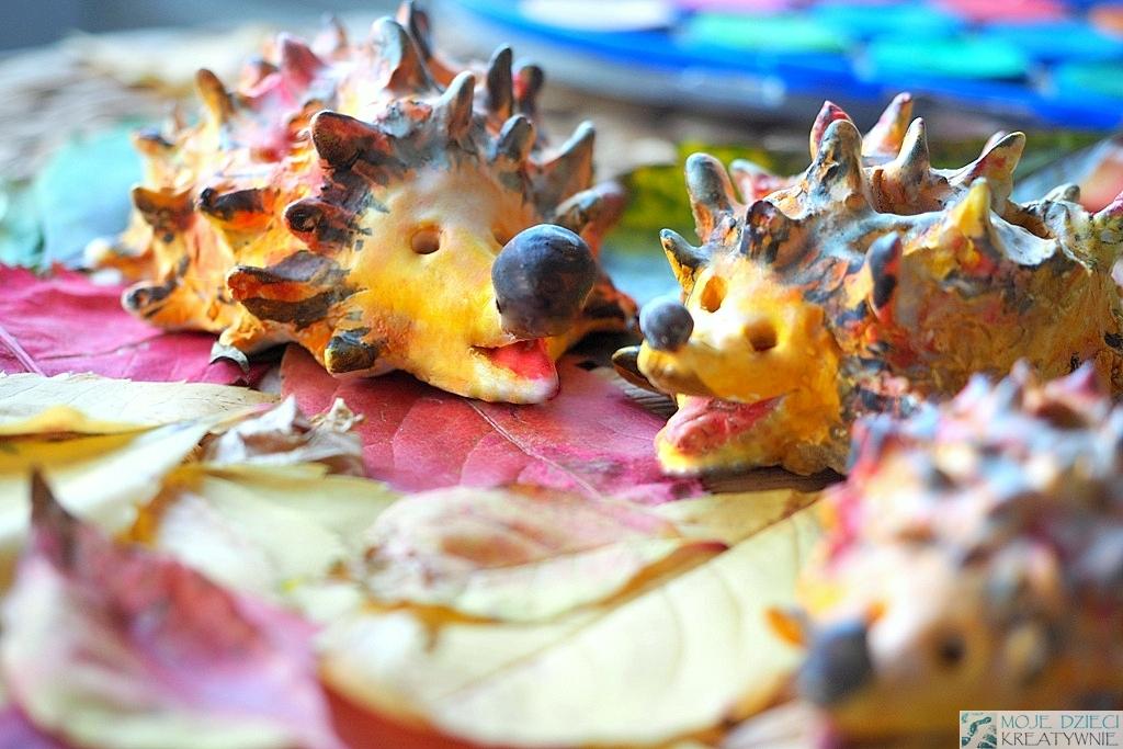praca plastyczna jesień, prace plastyczne jesień, jeże z gliny