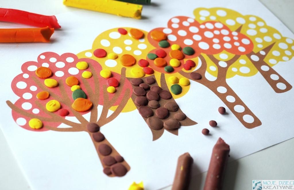 karty pracy jesień, prace plastyczne jesien, kolorowanka drzewa, karty pracy do druku