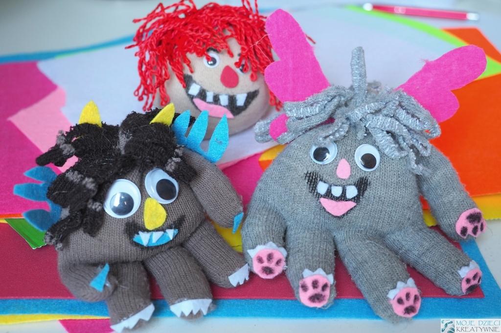 stworki z rękawiczek, ciekawe prace plastyczne, prace techniczne dla dzieci