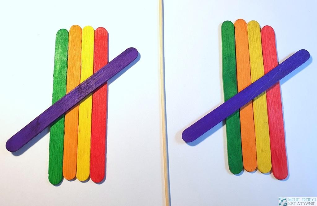 wzory do układania kolorowych patyczków