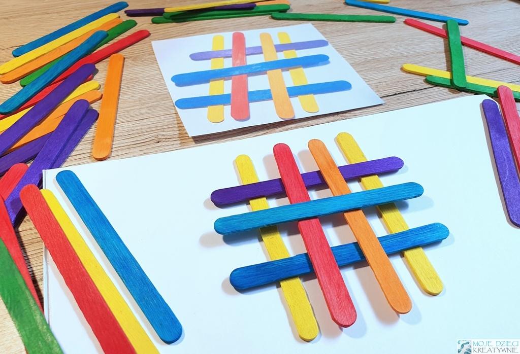 Szablony do układania kolorowych patyczków