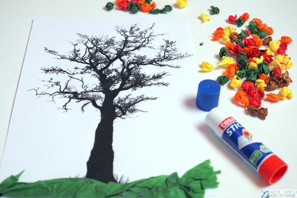 prace plastyczne w przedszkolu, dzien drzewa w przedszkolu
