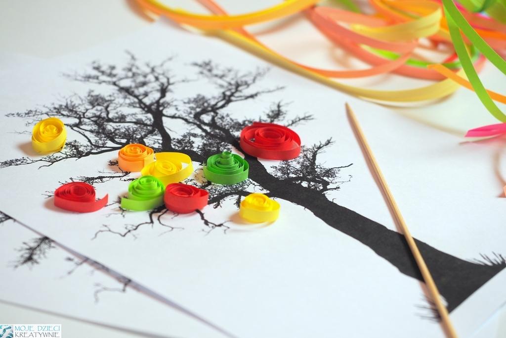 kreatywne prace plastyczne, technki plastyczne jesien, prace plastyczne drzewo, quiling