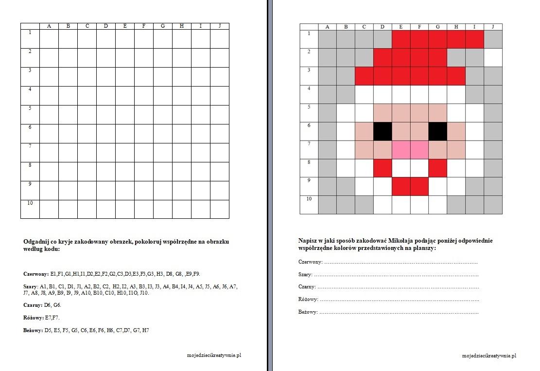zakodowane obrazki do druku, zakodowany mikołaj, szablon mikołaja, karty pracy do kodowania dla dzieci.