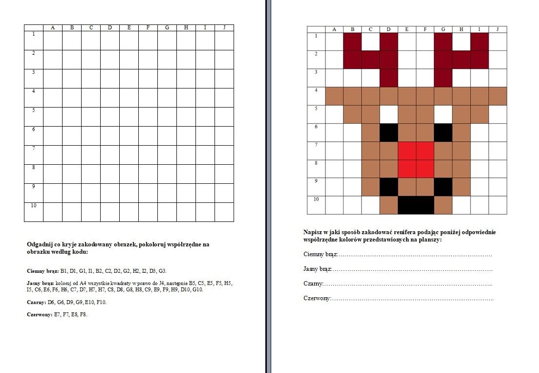 zakodowane obrazki do druku, zakodowany renifer, szablon renifera, karty pracy do kodowania dla dzieci.