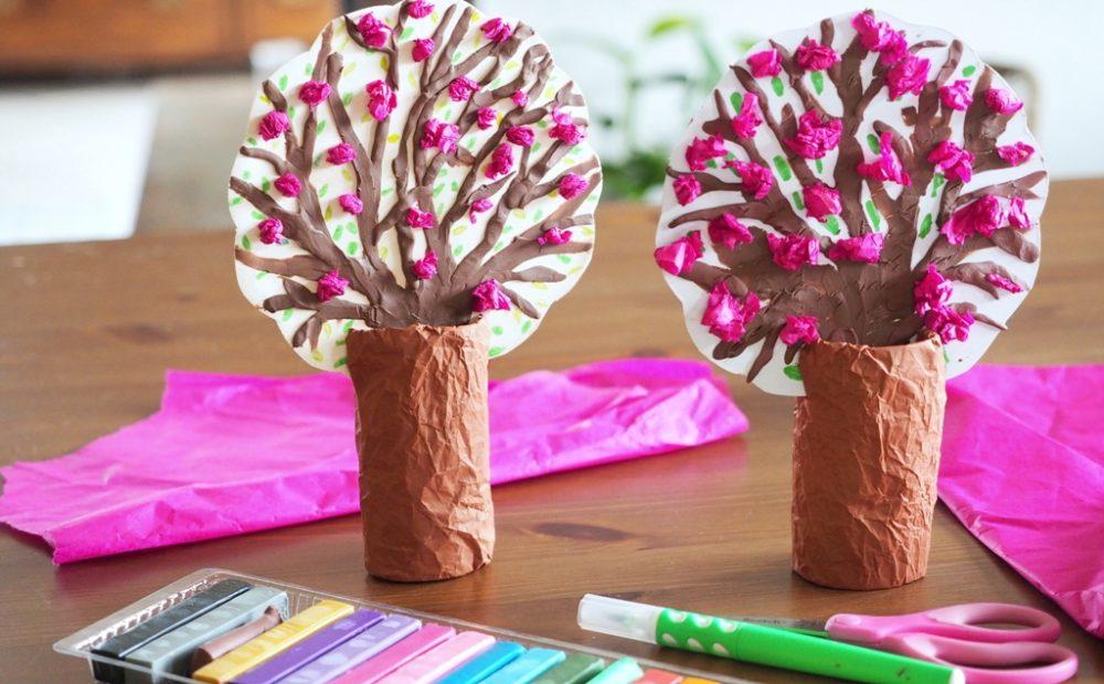 moje dzieci kreatywnie praca plastyczna drzewka, wiosna