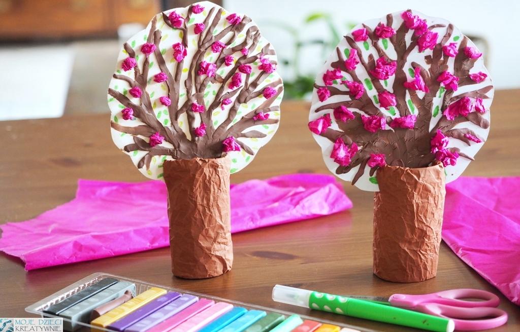 drzewka z rolek, wiosenne drzewko 3d, wiosenne drzewka z rolek, drzewko przestrzenne