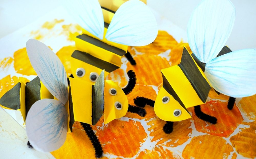 pszczoła z papieru, pszczoła praca plastyczna, pszczoła praca przestrzenna