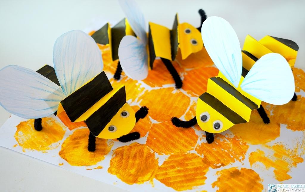 jak zrobić pszczołę z papieru, psczoła praca plastyczna, ul praca plastyczna