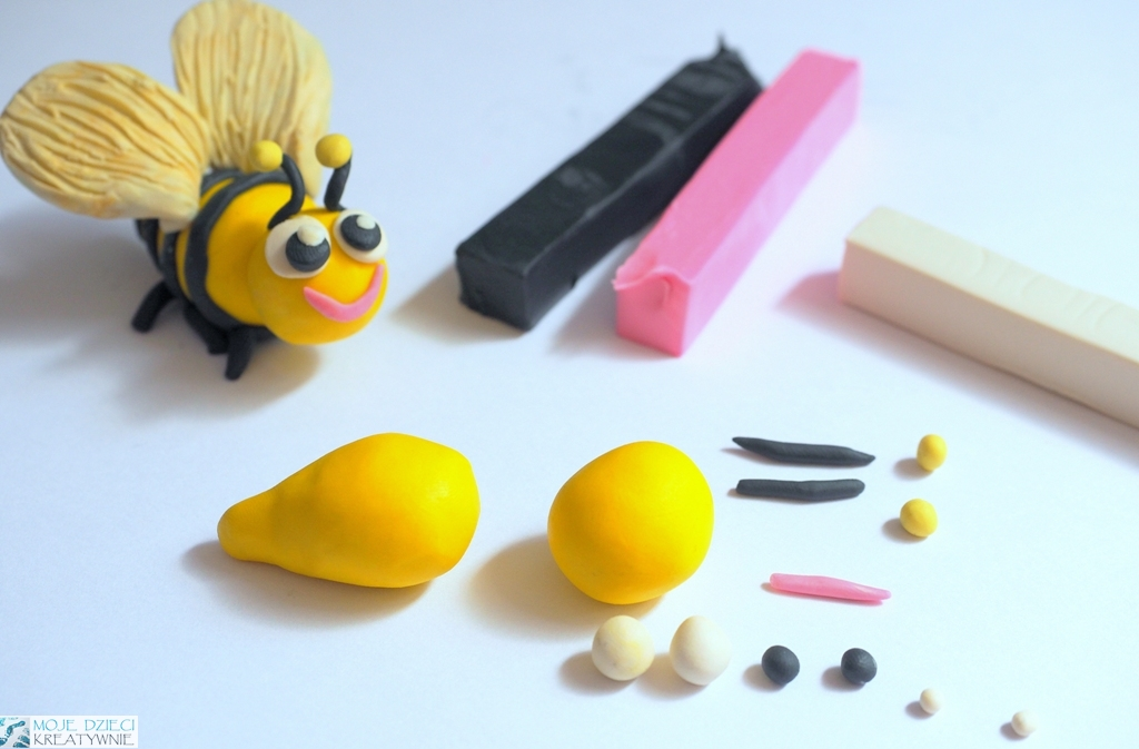 pszczoła z plateliny, figurki z plasteliny dla dzieci, zwerzątka z plasteliny krok po kroku