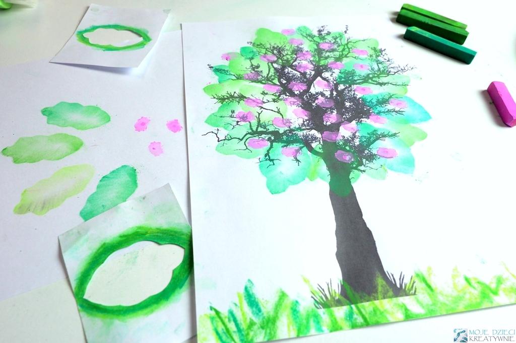 Wiosenne prace plastyczne, techniki plastyczne dla dzieci, wiosenne drzewko