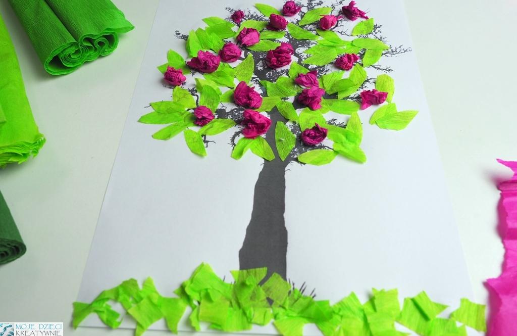 Wiosenne prace plastyczne, wiosenne drzewko 3d, prace plastyczne wiosna