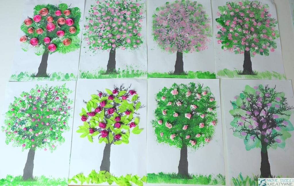 wiosenne prace plastyczne, wiosenne drzewko, pomysły na prace plastyczne wiosna