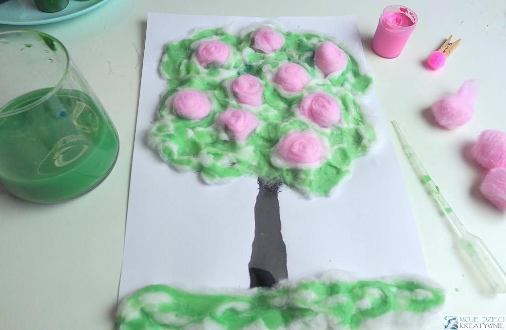 drzewko 3d, przestrzenne drzewko, wiosenne drzewko 3d, kwitnące drzewko praca plastyczna