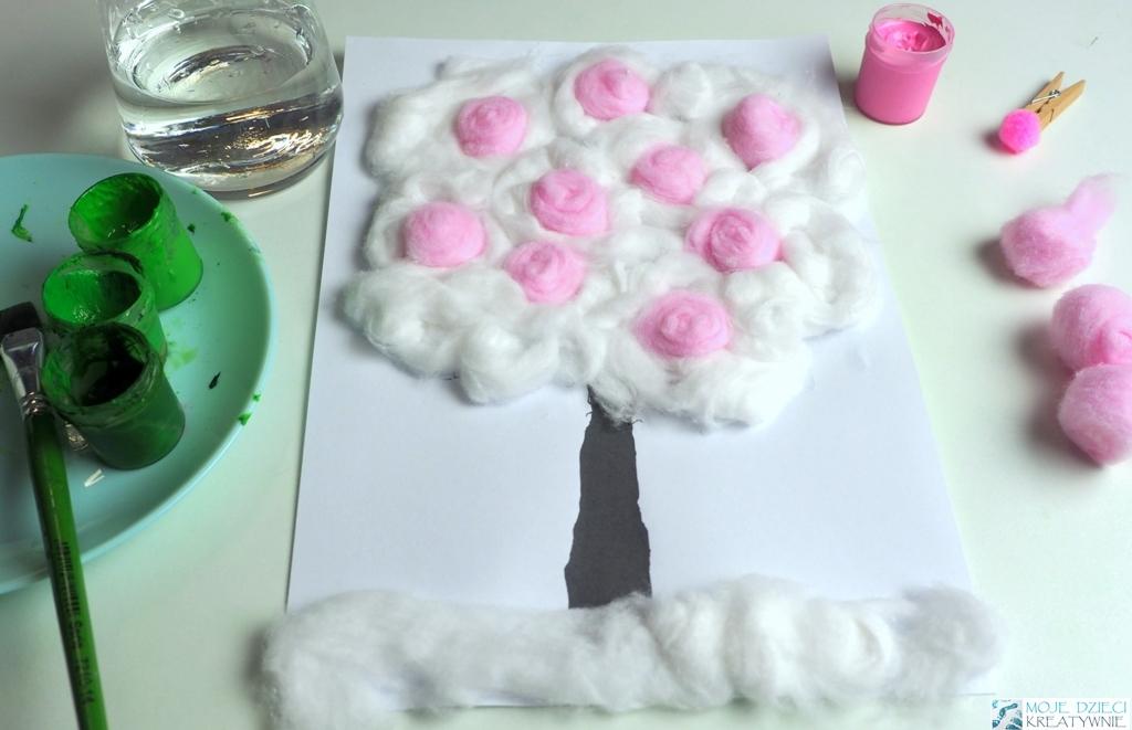 pomysły na wykonanie wiosennego drzewka, prace plastyczne drzewo