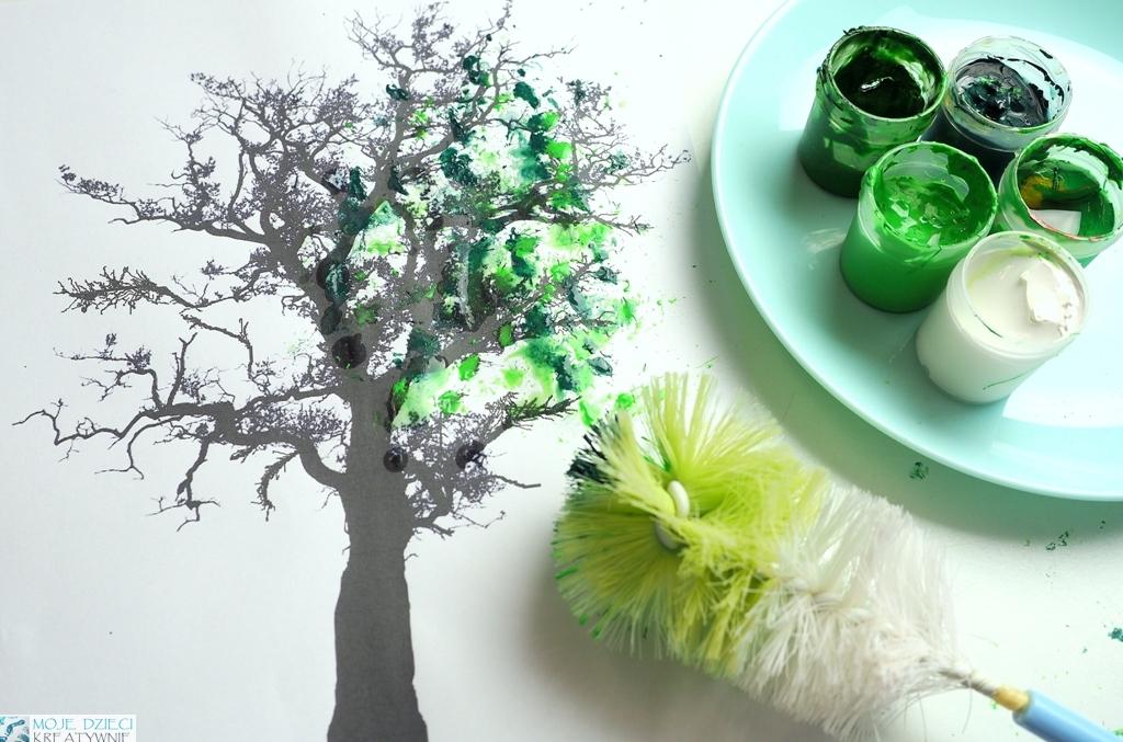 Wiosenne prace plastyczne, drzewo praca plastyczna, szablon drzewa do druku