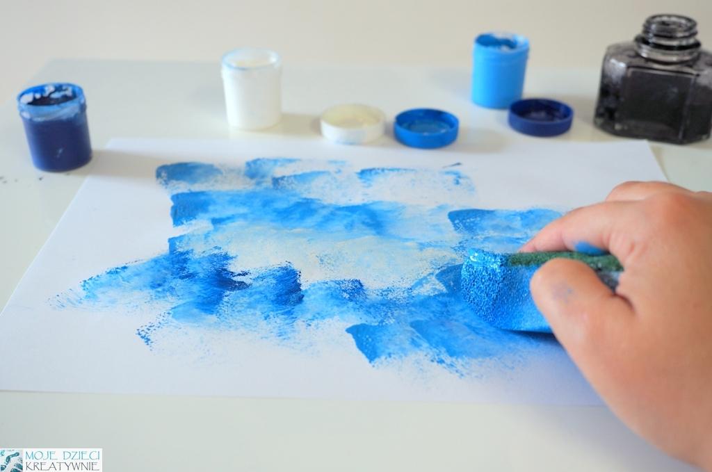 stemplowanie gąbką, malowanie gąbka, techniki plastyczne w przedszkolu