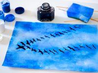 klucz ptaków na niebie, odlatujące ptaki praca plastyczna, tematy prac plastycznych na jesień