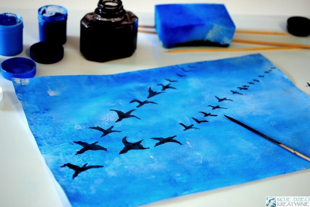 jak namalowac ptaki, ptaki na niebie, praca plastyczna jesien, praca plastyczna niebo