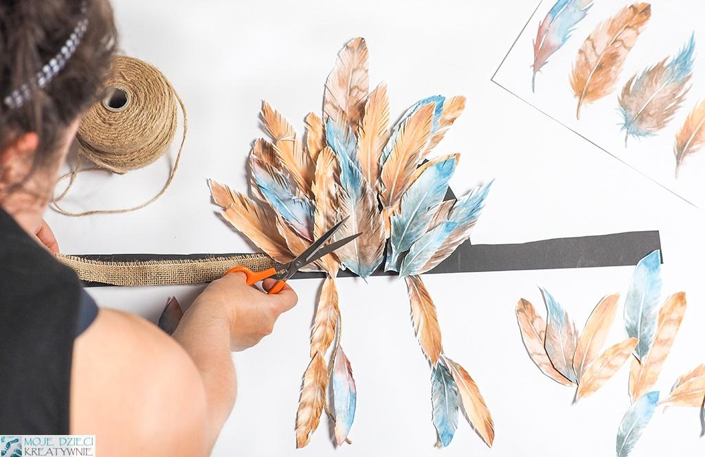 pióropusz indianina z papieru, papierowy pióropusz, papaierowe pióra, moje dzieci kreatywnie