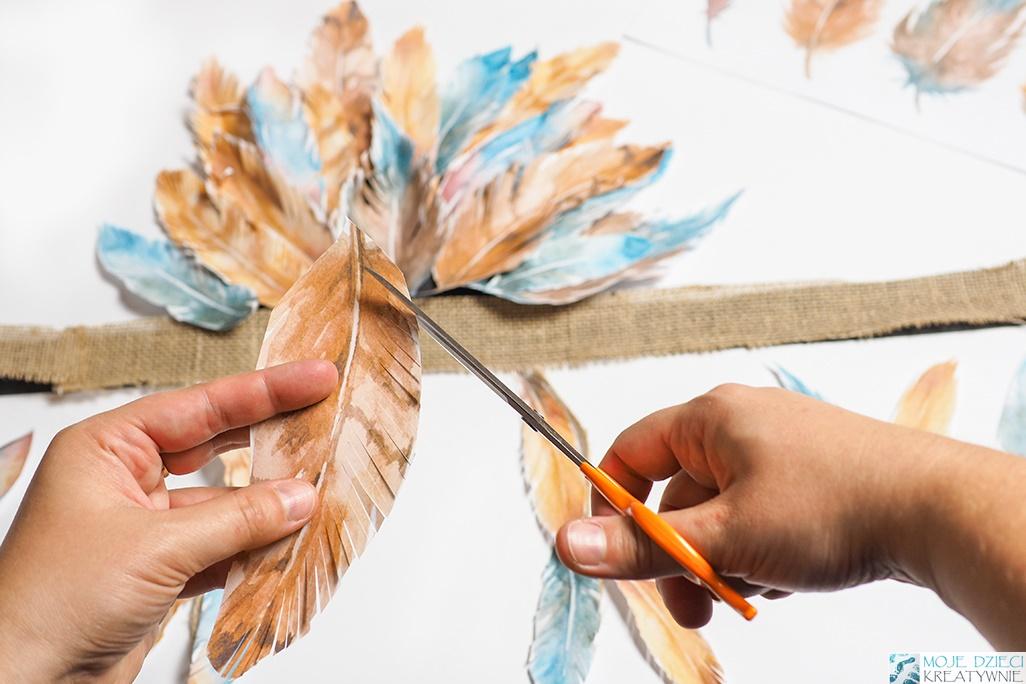 jak zrobić pióropusz, jak zrobić pióropusz indiański z papaieru, papierowy pióropusz, moje dzieci kreatywnie, przebrania dla dzieci