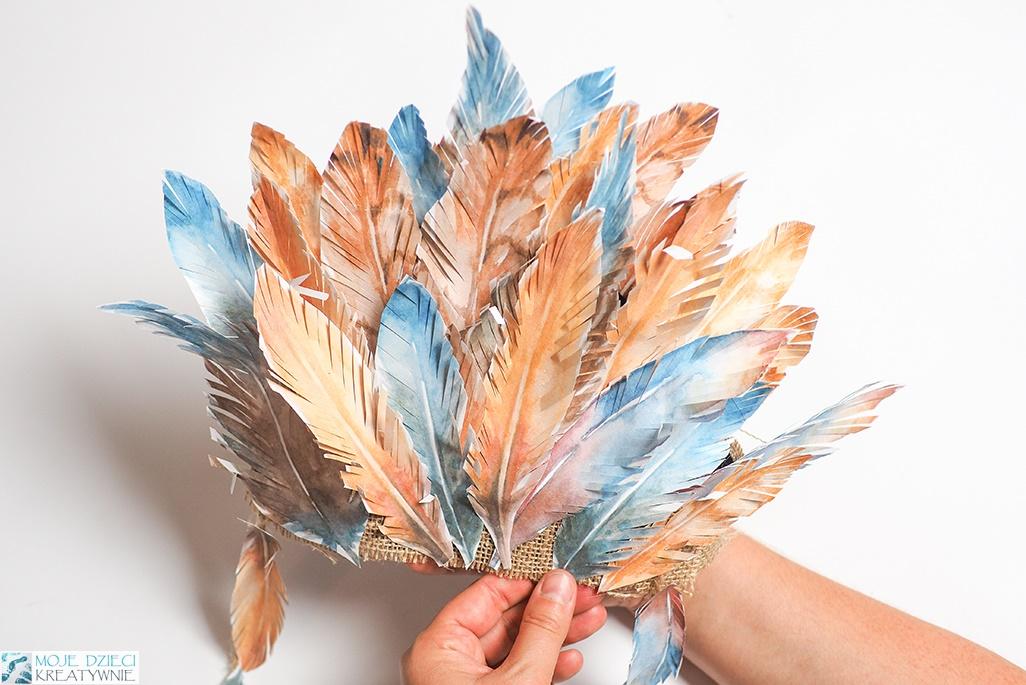 pióropusz z papieru, papierowe pióra do druku, jak zrobić pióropusz indianina, strój indiański