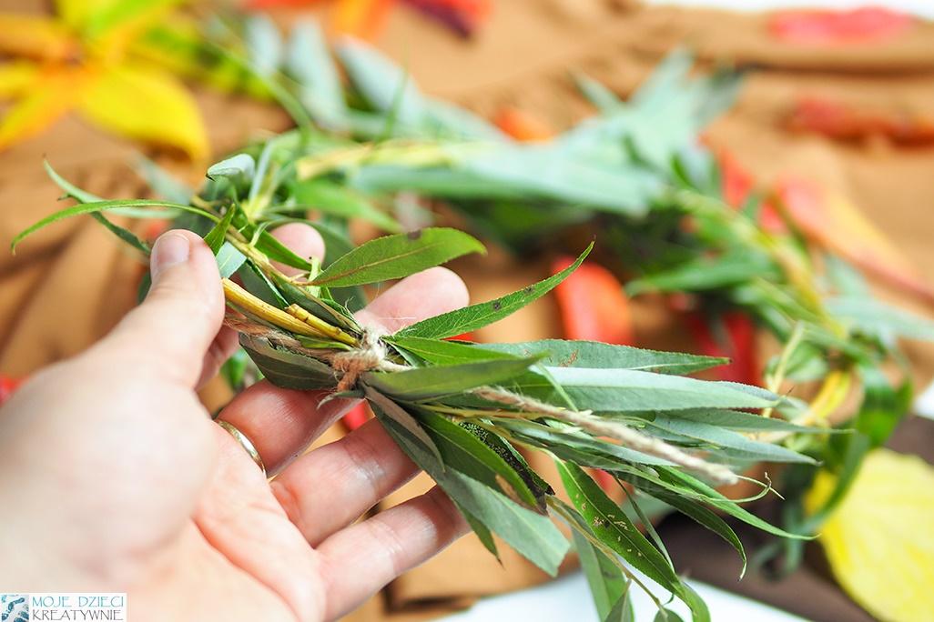 jak zrobić wianek z liści