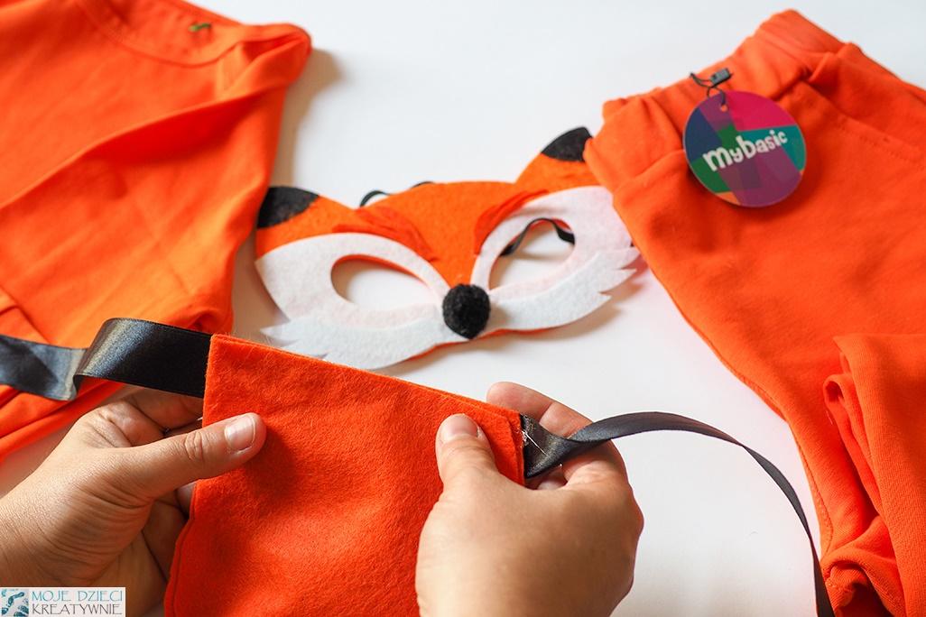 maska lisa, ogon lisa, przebranie lis, strój lisa zrób to sam, pomysły na przebrania dla dzieci