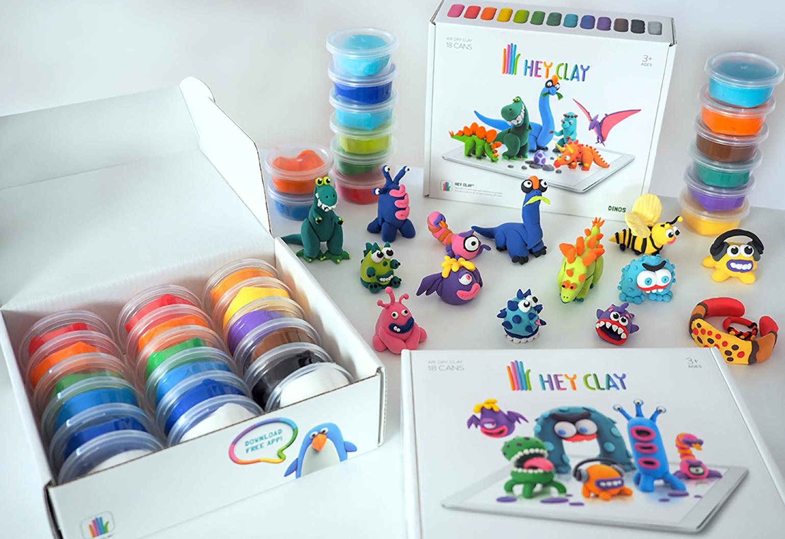 Samoutwardzalna masa plastyczna dla dzieci, to masa kreatywności hey clay zestaw w pudełku, pokazane figurki, które można ulepić z plasteliny, masy plastycznej i play doh.