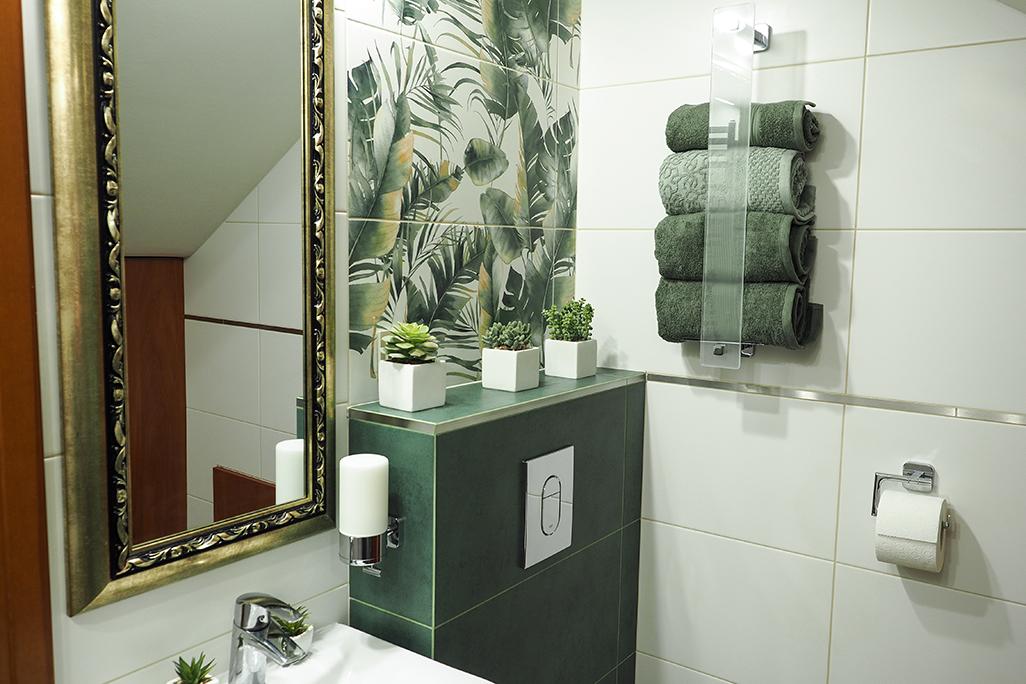 Metamorfoza małej łazienki, burano green, tubędzin, pomysł na łazienkę, akcesoria łazienkowe tesa, arte dekor