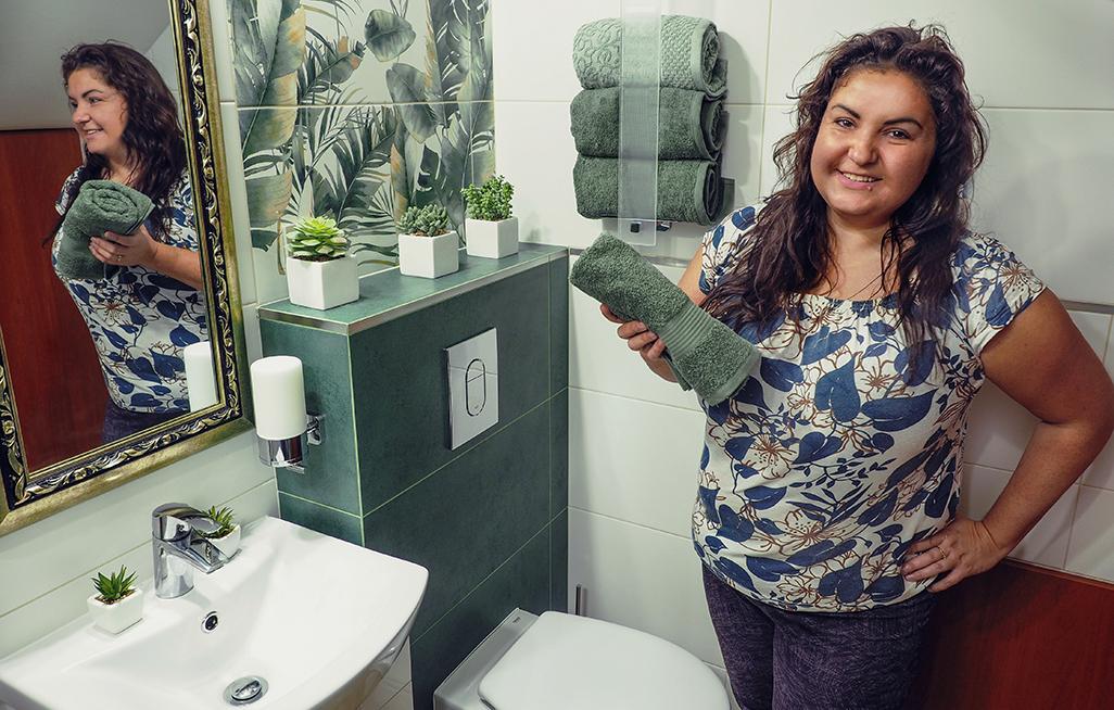 metamorfoza łazienki, dekory ścienne, burano green arte dekor
