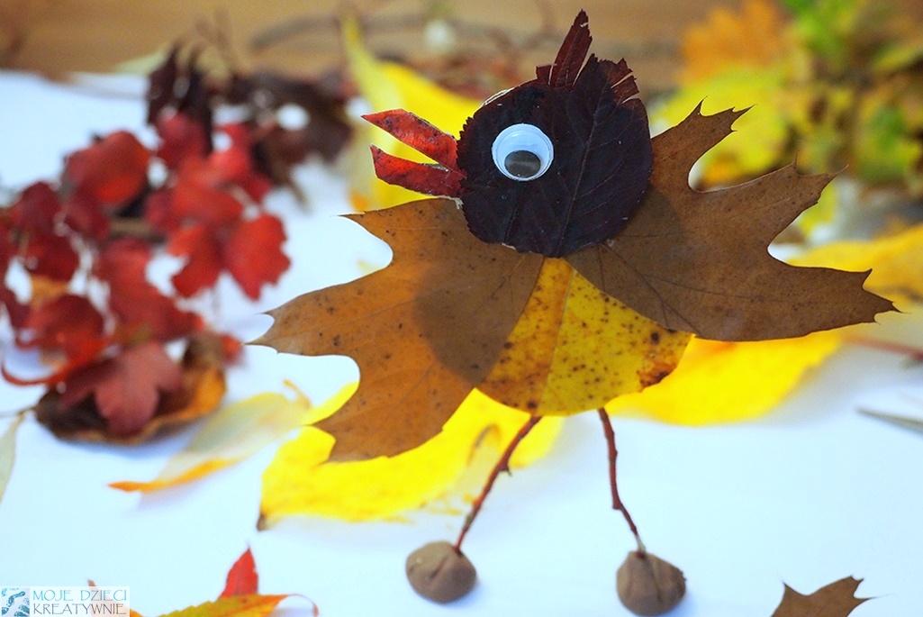 ptaki cudaki wykonane z liści i patyków, ciekawy pomysł na jesienne prace plastyczne i zajęcia dla dzieci